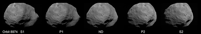 How HRSC's five panchromatic channels view Phobos