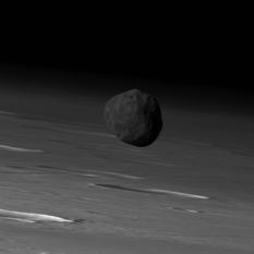 Phobos over Mars from Mars Express, 26 March 2010