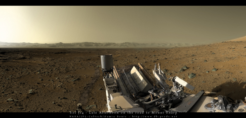 Colorized Curiosity panorama, late afternoon of sol 514
