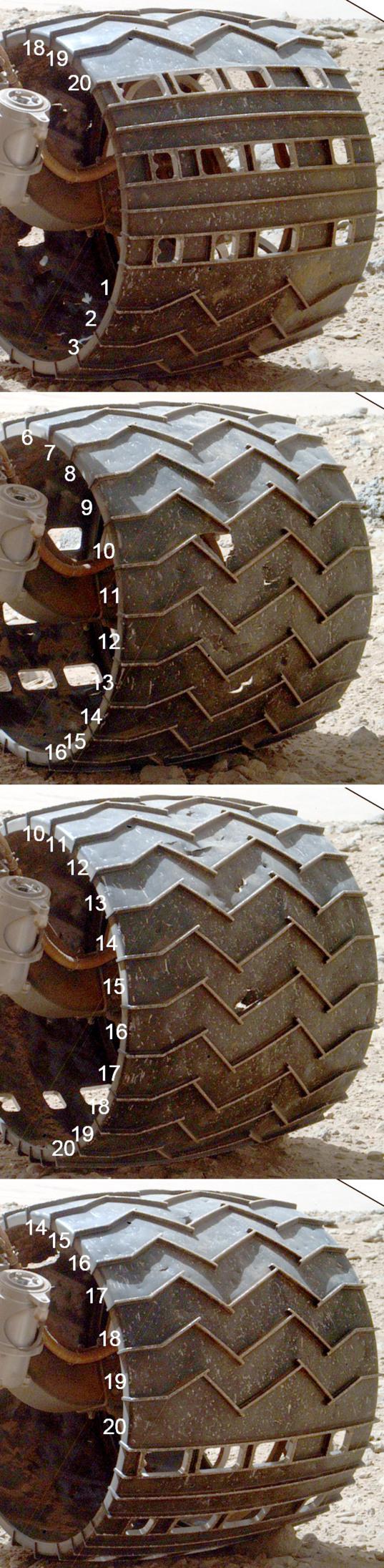 Curiosity wheel survey, sol 513: Left middle wheel