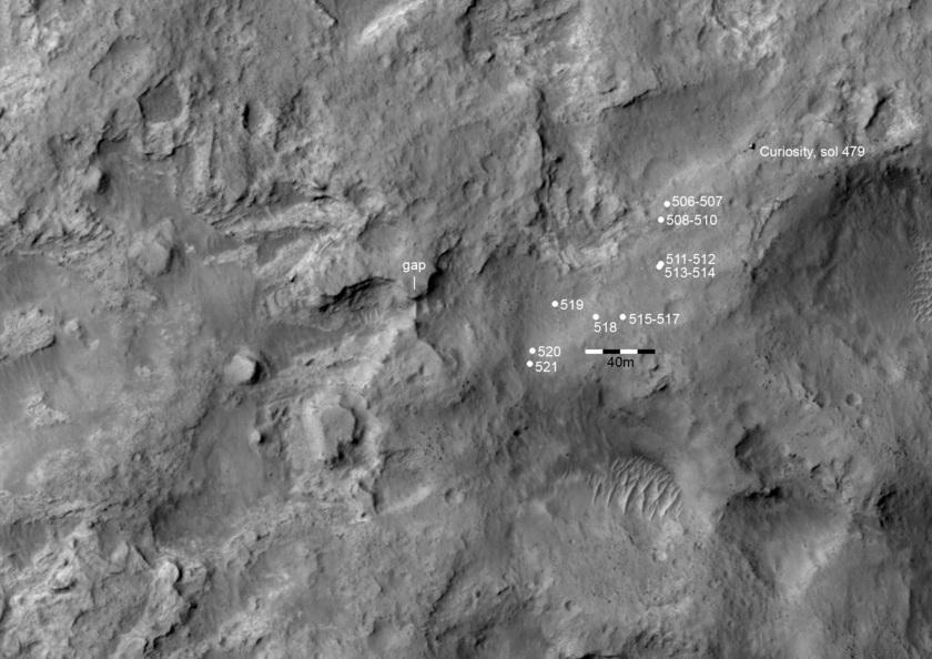 Location map for Curiosity's sol 518-521 views of Dingo Gap