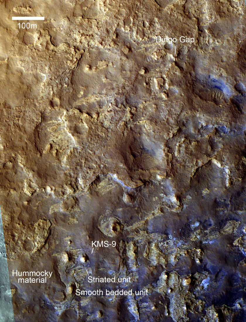 HiRISE view of the Gale Crater terrain between Dingo Gap and KMS-9