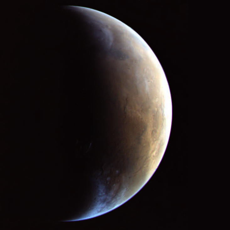 Mars crescent in color from Viking 2, 6 August 1976