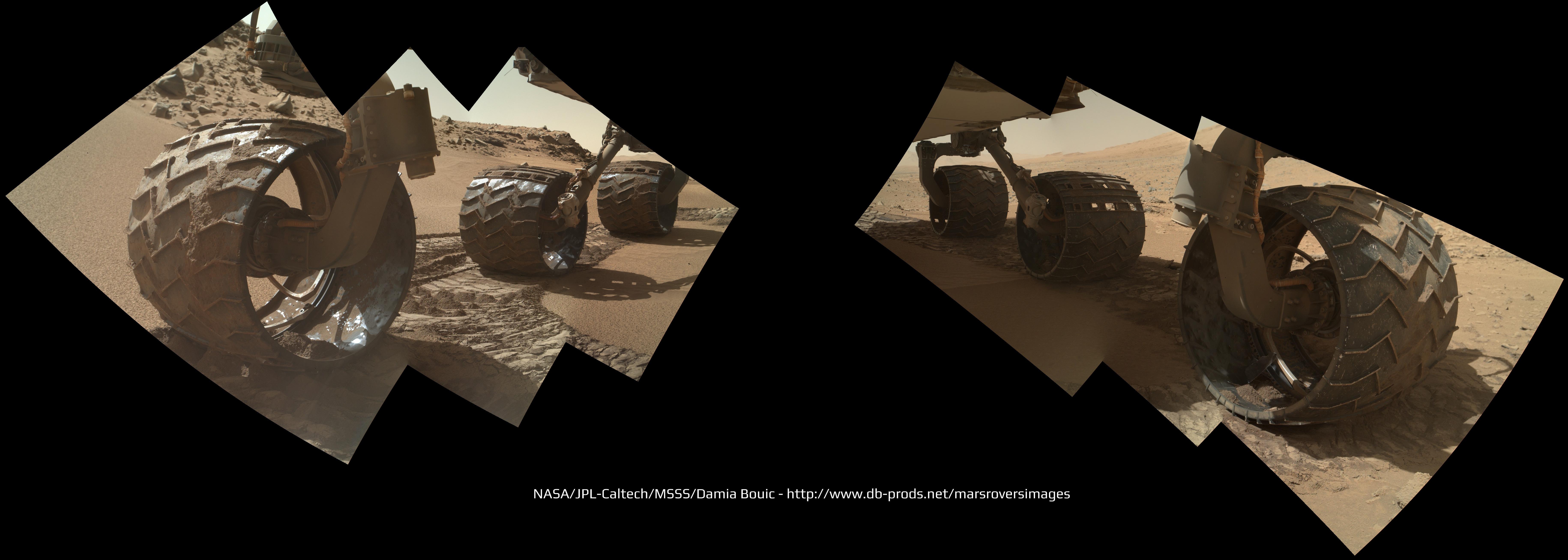 Foto mosaico mostra a progressão dos buracos e rasgos em várias das seis rodas do rover Curiosity, causadas pela longa condução sobre pedras afiadas de Marte, durante os meses de caminhada até o Monte Sharp. Imagens cruas tiradas pela câmera MAHLI no braço do Curiosity em 31 de janeiro de 2014 (Sol 529) foram montadas juntas para mostrar alguns danos em várias de suas seis rodas. (Clique aqui para a imagem e resolução completa.) Crédito: NASA / JPL / MSSS / Marco Di Lorenzo / Ken Kremer-kenkremer.com