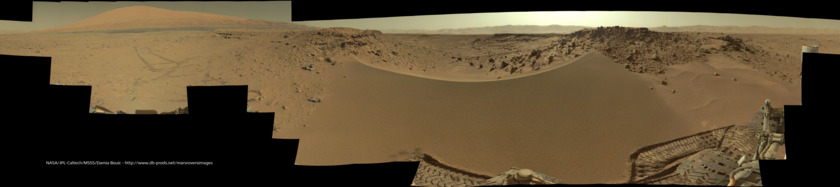 View over the Dingo Gap dune and Mount Sharp, Curiosity sol 530 (huge 360-degree panorama)