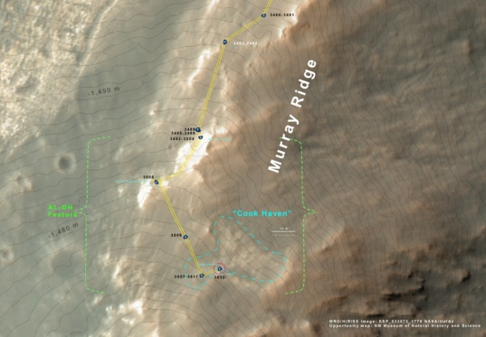 Status of Opportunity's traverse as of sol 3519
