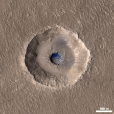 Terraced crater on Mars