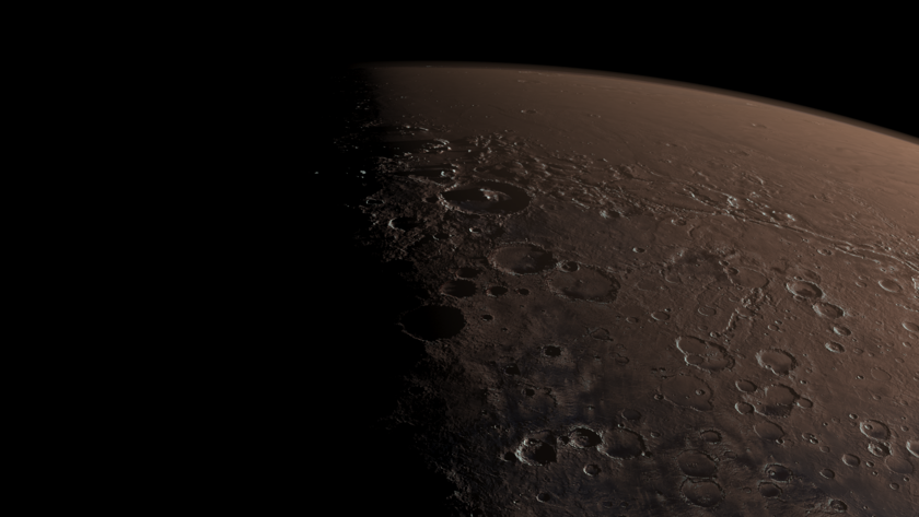 Perspective view of Mars: Gale on the terminator