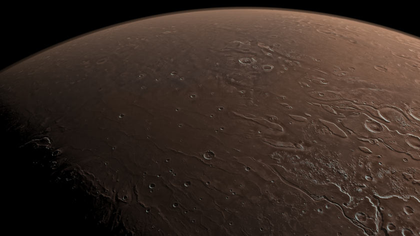 Perspective view of Mars: Outflow channels, Viking 1 and Pathfinder landing sites
