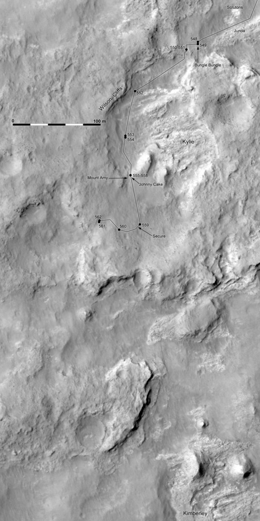 Phil Stooke's Curiosity Route Map: Junda, Kylie, and Kimberley (sols 548-562)