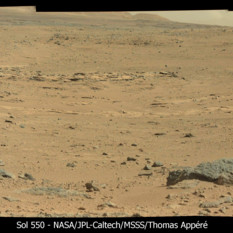 Drive-direction panorama toward Kylie, curiosity sol 550