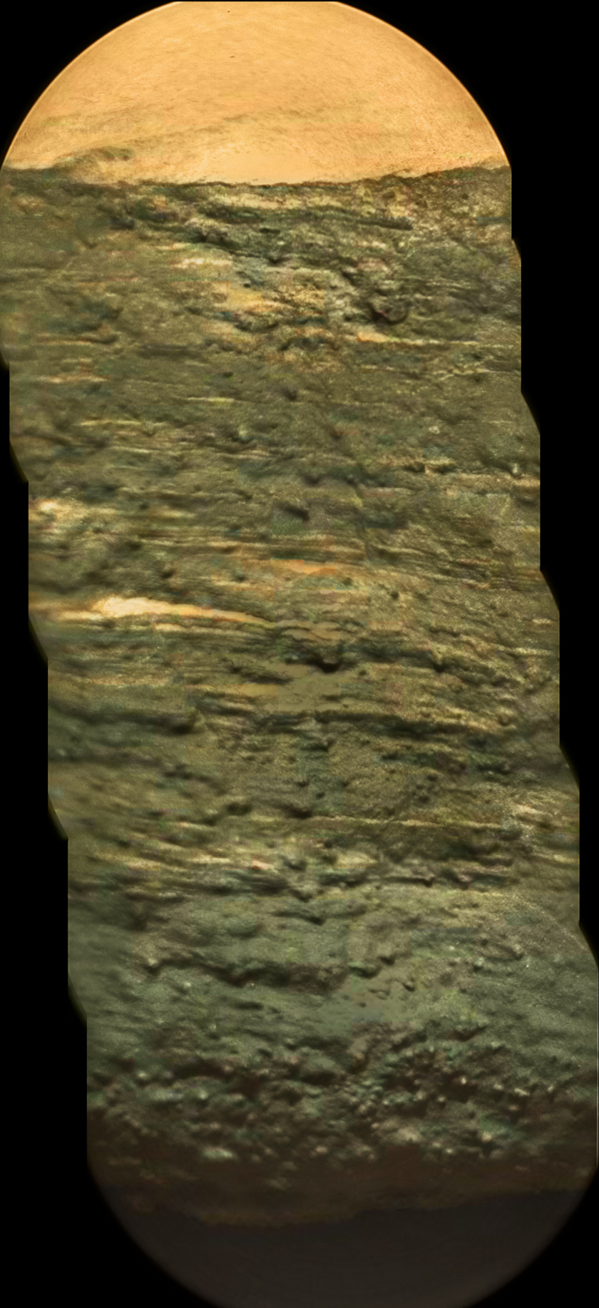 Chemcam RMI mosaic of cross section of Kimberley outcrop from the north, Curiosity sol 576