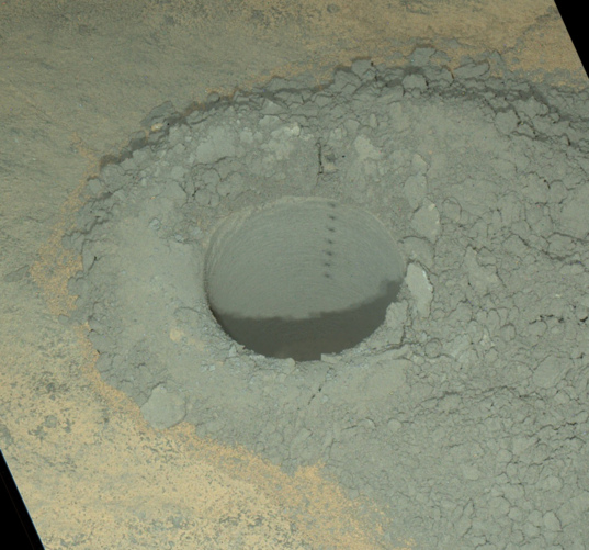 Windjana drill hole at night, Curiosity sol 628