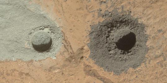 Comparison of John Klein and Windjana mini-drill holes