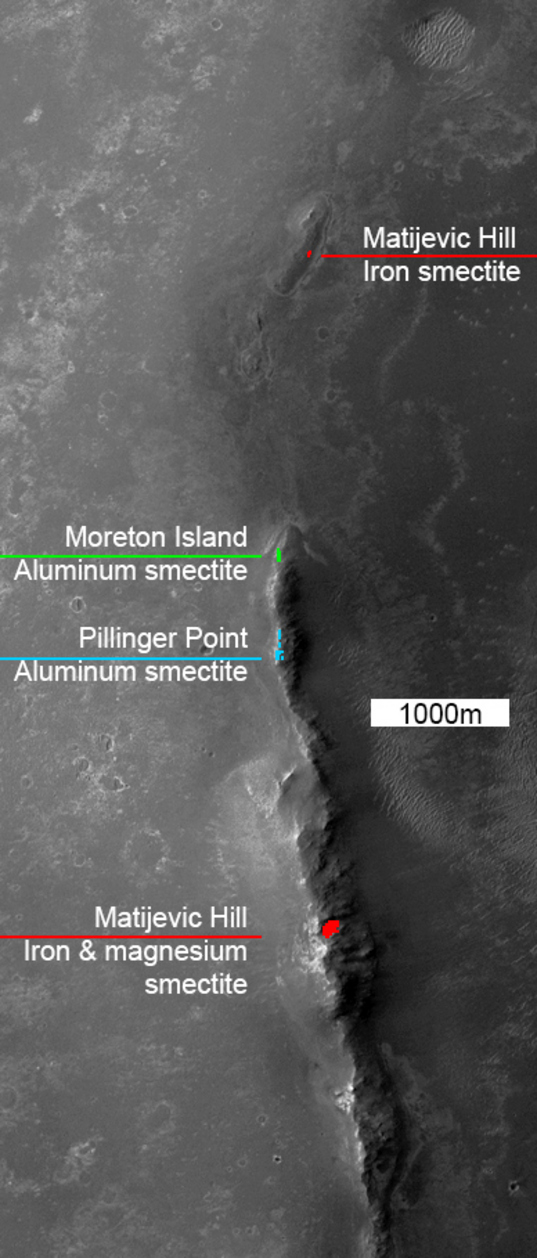 Before and after: Clay mineral locations at the rim of Endeavour crater mapped by CRISM with optional rover traverse