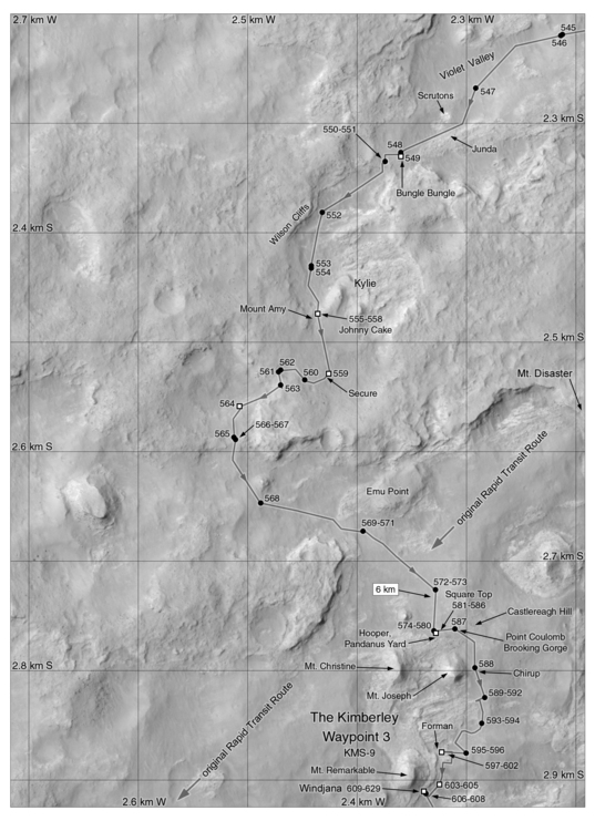 Phil Stooke's Curiosity Route Map Detail: Violet Valley, Kylie, and the Kimberley (sols 545-608)