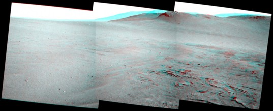 Opportunity's view ahead in stereo, sol 3735