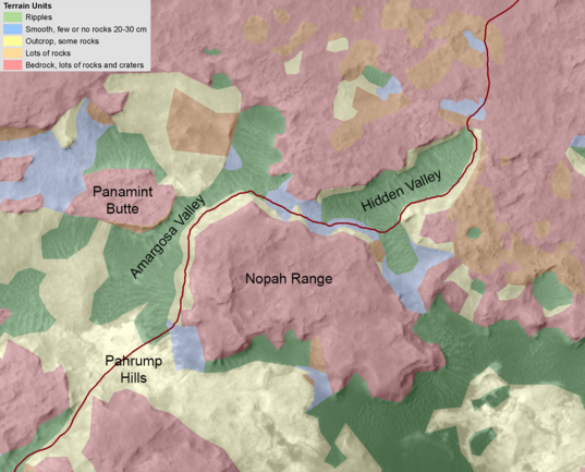 Curiosity terrain hazard map, Hidden Valley to Pahrump Hills