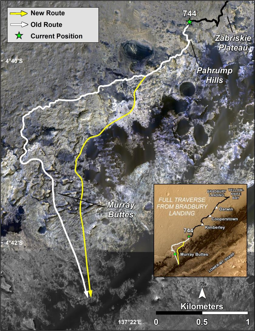 Planned path for Curiosity's extended mission, sol 744