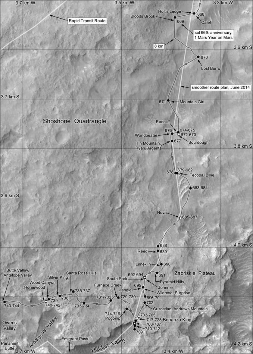 Phil Stooke's Curiosity Route Map Section 7: Zabriskie Plateau (sols 668-744)