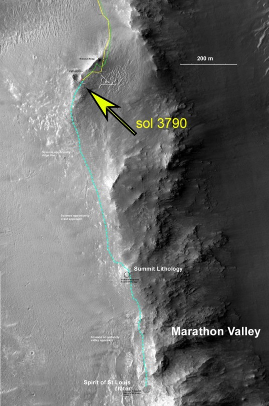 Opportunity's traverse along Wdowiak Ridge