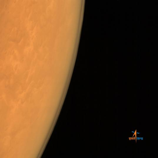 Mars' limb from Mars Orbiter Mission