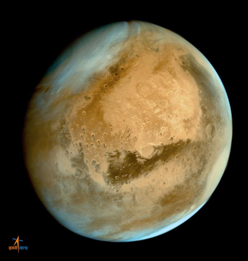Mars Orbiter Mission's first global image of Mars (processed)