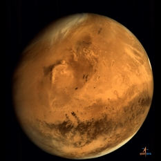Mars from Mars Orbiter Mission, with Elysium and Gale