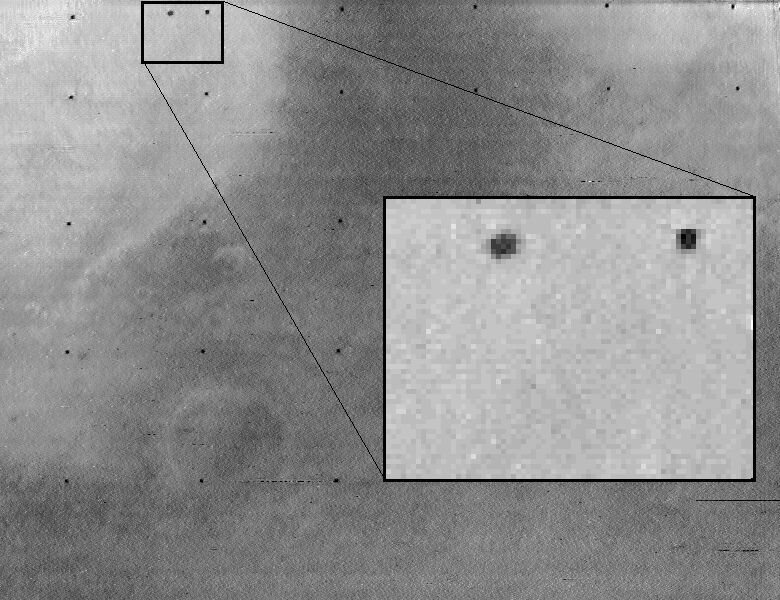 One of the first spacecraft photos of Phobos, from Mariner 7