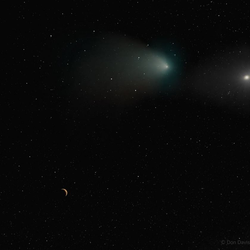 Comet Siding Spring at Mars (post-encounter artwork by Don Davis)
