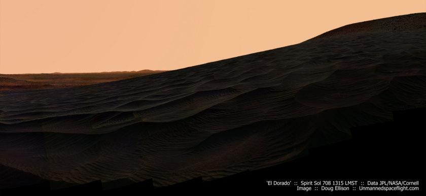 Spirit at El Dorado dunes, sol 708