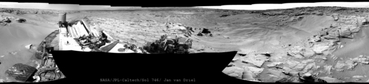 Curiosity Navcam panorama from Jubilee Pass, sol 746 (September 11, 2014)