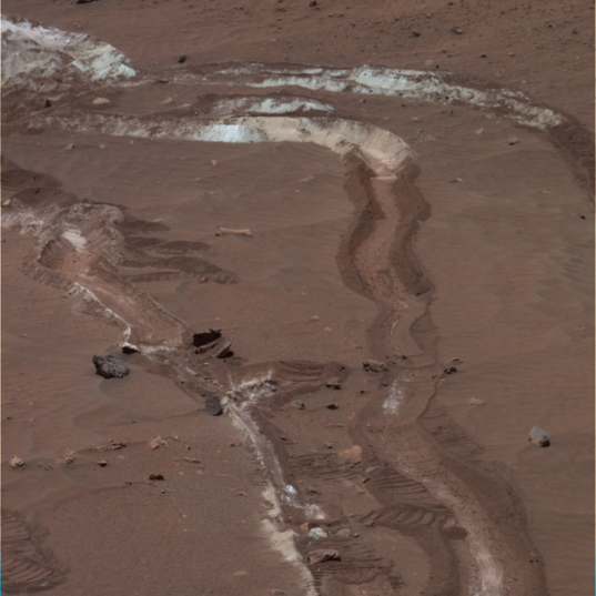 Spirit rover tracks at Tyrone, sol 1096