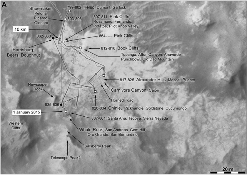 Phil Stooke's Curiosity Route Map Detail: Pahrump Hills walkabout 2 (sols 799-864)