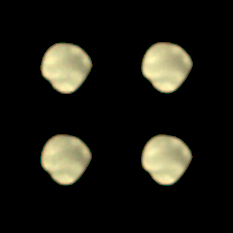 Four views of the anti-Mars side of Deimos by Mars Orbiter Mission