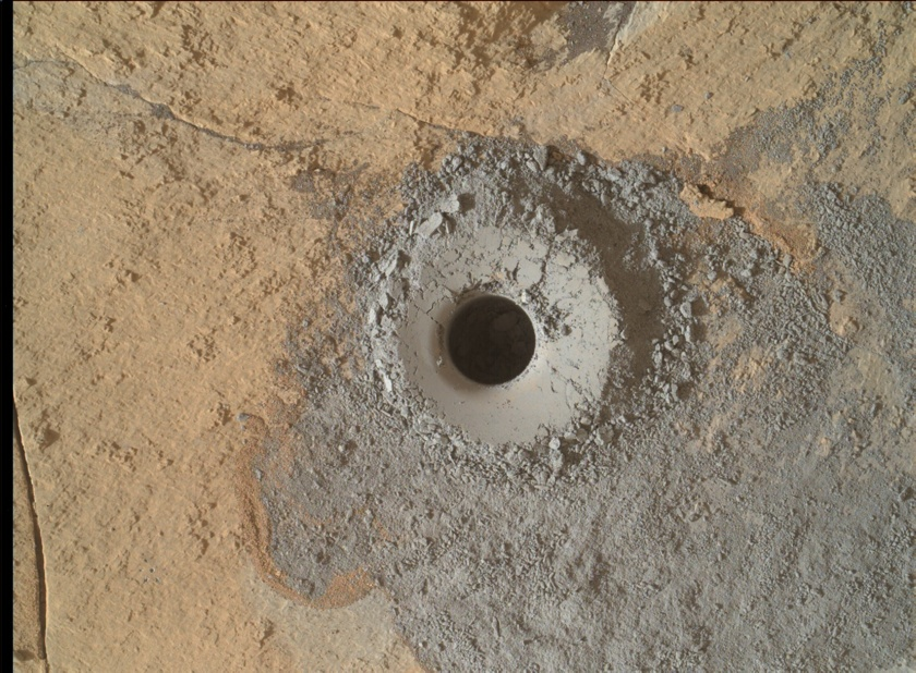 Curiosity drill site at Mojave2, sol 882 (January 29, 2015)