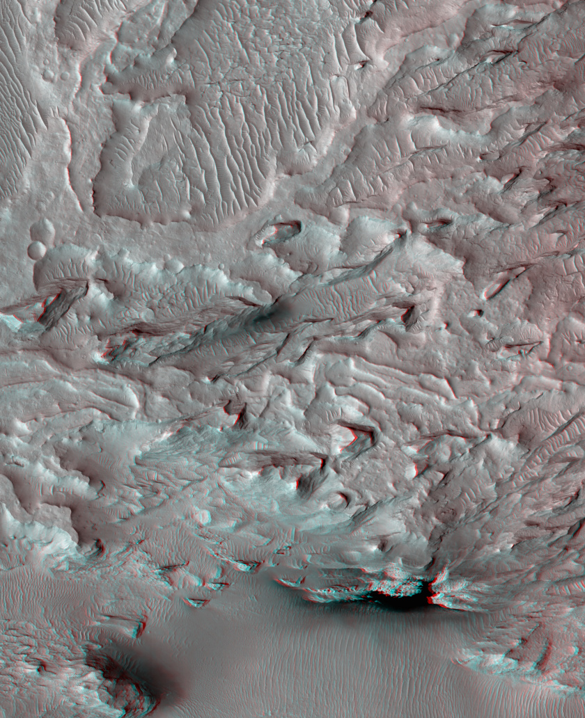 Possible Ancient Martian River Delta (3D)