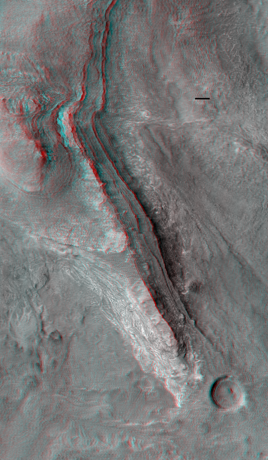 Layered Rock in the Northwest Hellas Region of Mars (3D)