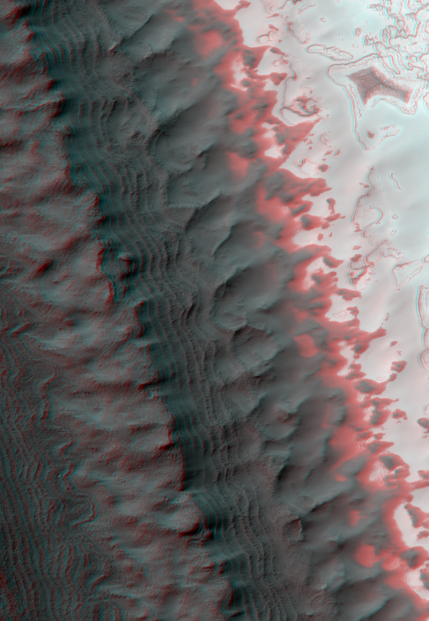 Exposure of Layered Deposits in the Southern Polar Cap of Mars (3D)