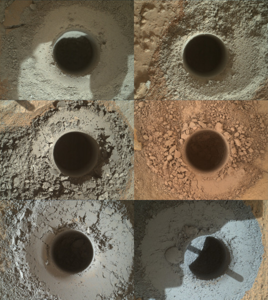 Six Curiosity drill holes on Mars