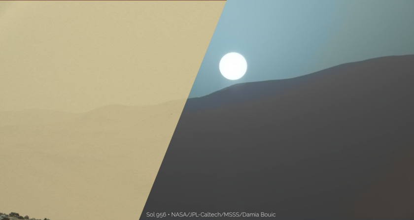 Comparison of midsol vs sunset sky horizon colors, sol 956