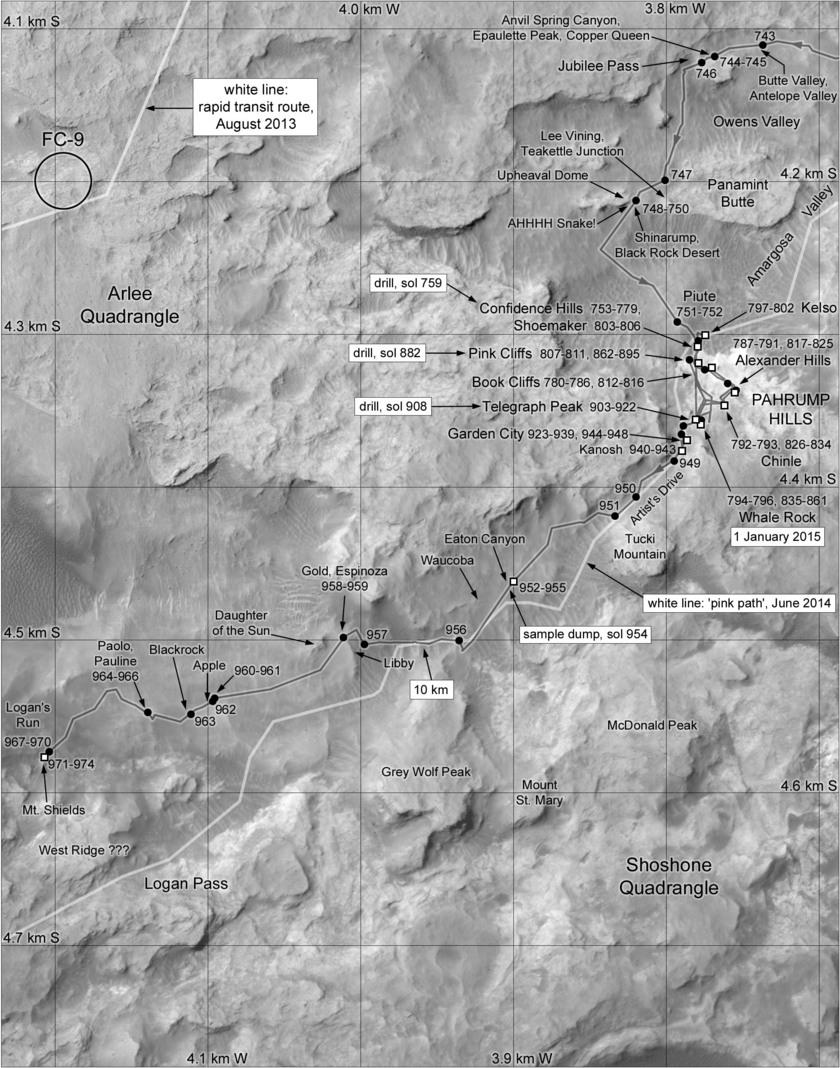 Phil Stooke's Curiosity Route Map #8: Pahrump Hills (sols 743-974)