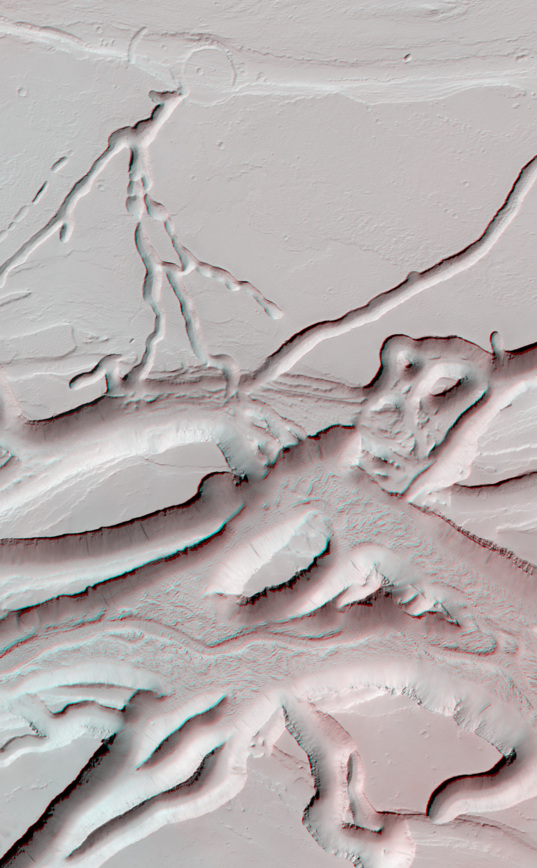 3D Anaglyph: Olympica Fossae (detail 2)