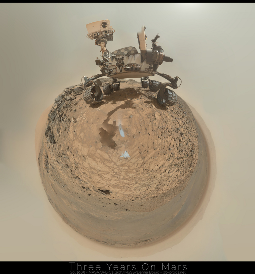 Curiosity self-portrait, sol 1065 (spherical projection)