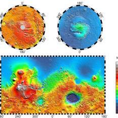 Mars Orbiter Laser Altimeter map of Mars