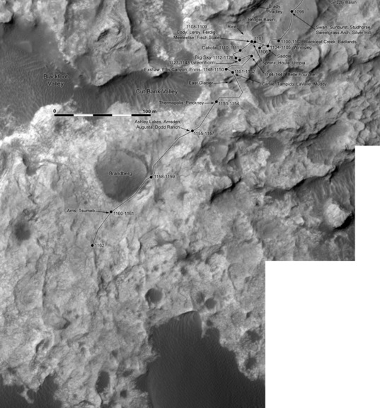 Phil Stooke's Curiosity Route Map Detail: Big Sky and Greenhorn (sols 1099-1162)