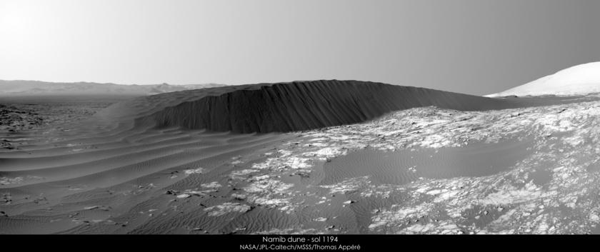 Namib dune, Gale crater, Mars, Curiosity sol 1194
