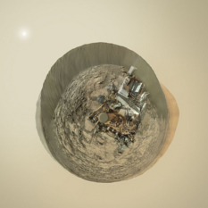 """Little Planet"" version of Curiosity sol 1197 Mastcam self-portrait"