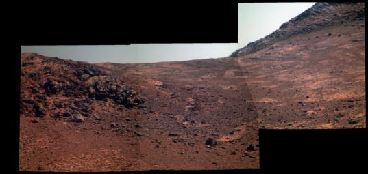 Color Pancam mosaic of the western valley