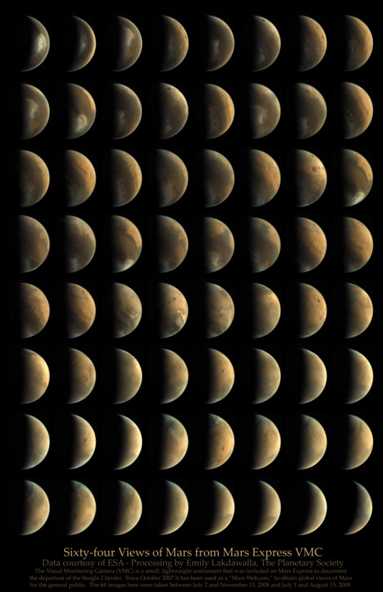 Sixty-four Views of Mars from Mars Express VMC